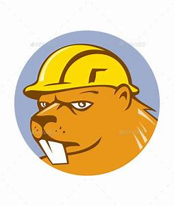 Beaver Construction Worker Circle Cartoon by patrimonio ...