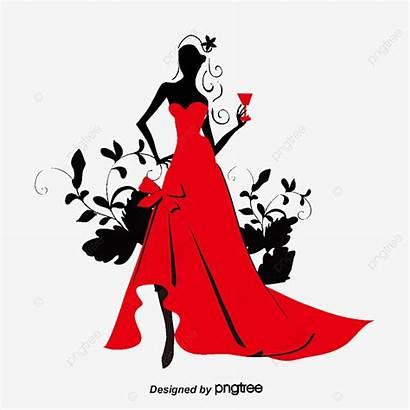Silhouette Clipart Wearing Vestido Rojo Pngtree Silueta