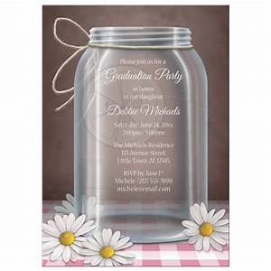 Graduation Party Invitations - Rustic Mason Jar Daisy Pink