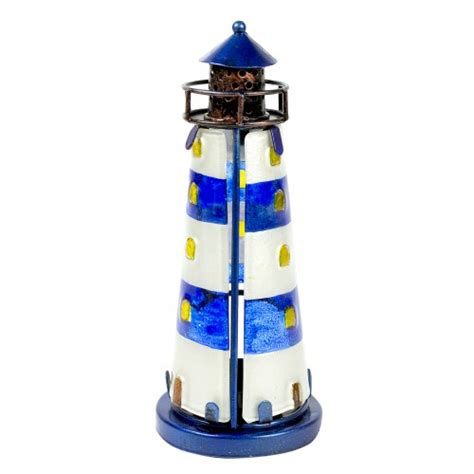 stained glass lighthouse l stained glass lighthouse blue 18cm