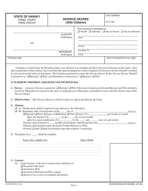 divorce decree with children hawaii free