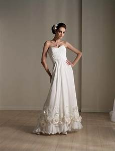 simple a line wedding gown with unique flowers on hemlines With unique simple wedding dresses