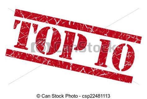 Clipart Of Top 10 Red Square Grunge Textured Isolated