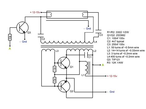 Simple Compact Fluorescent Tube Ballast Inverter Only
