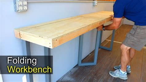 diy folding workbench   shipping container shop