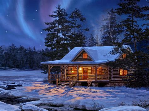 Anime House Wallpaper - anime house winter forest artwork villages pictures