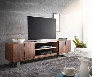Tv Board 200 Cm : lowboard live edge 200 cm akazie braun 4 t ren 2 f cher m bel tische fernsehtische ~ Whattoseeinmadrid.com Haus und Dekorationen
