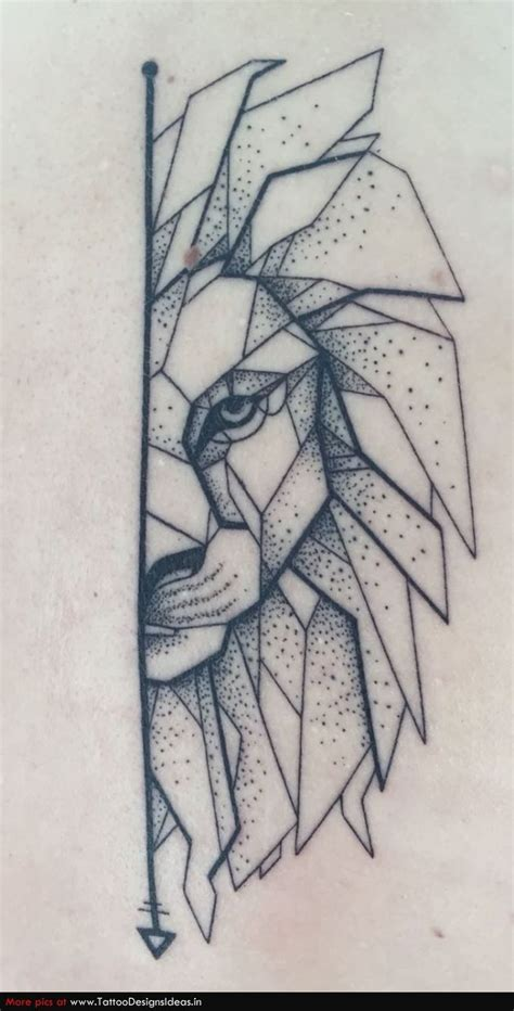 geometric lion  dotwork tattoos pinterest