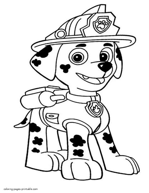 Paw Patrol Coloring Pages For Kids Puppy Marshall