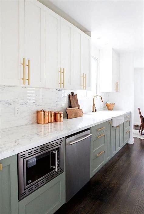 sage green white kitchen cabinets  gold hardware