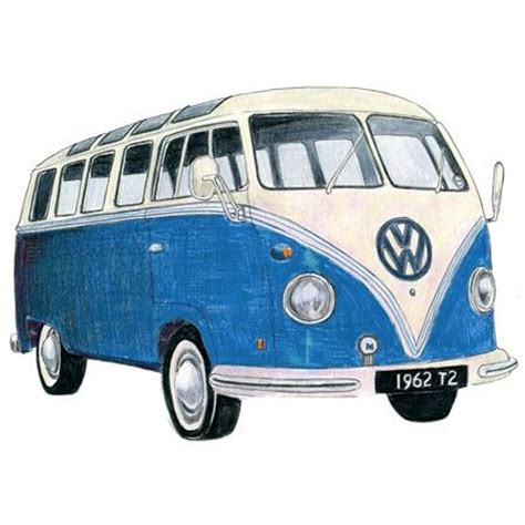 volkswagen bus drawing blue volkswagen camper drawing limited edition print