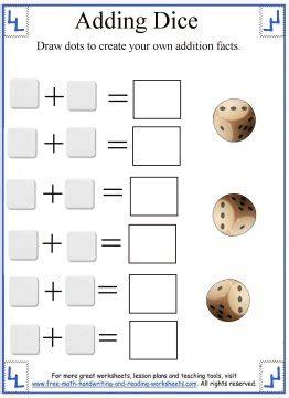 math addition worksheetsadding dice