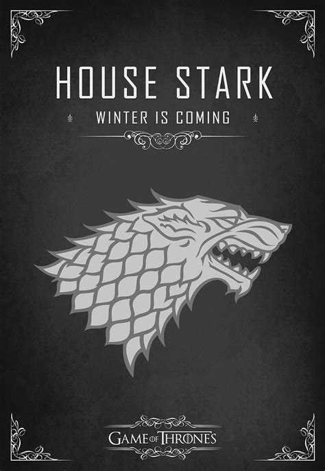 quadro decoracao game thrones house stark cm