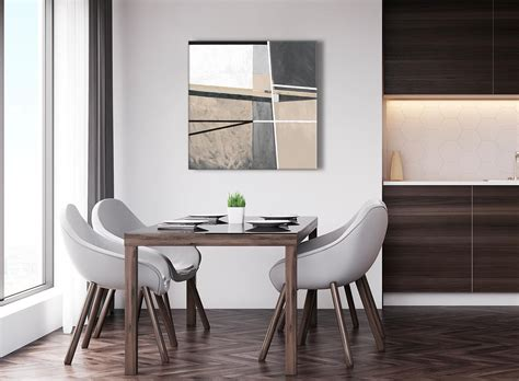 beige cream grey painting abstract living room canvas