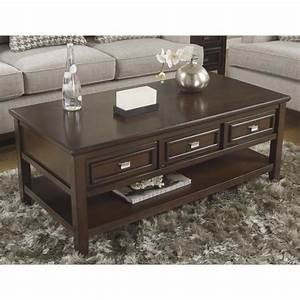 ashley larimer rectangular coffee table with drawers in With dark brown coffee table with drawers