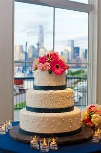 Moroccan Design Patterns Three Tier Patterned Wedding Cake With Navy Stripes And