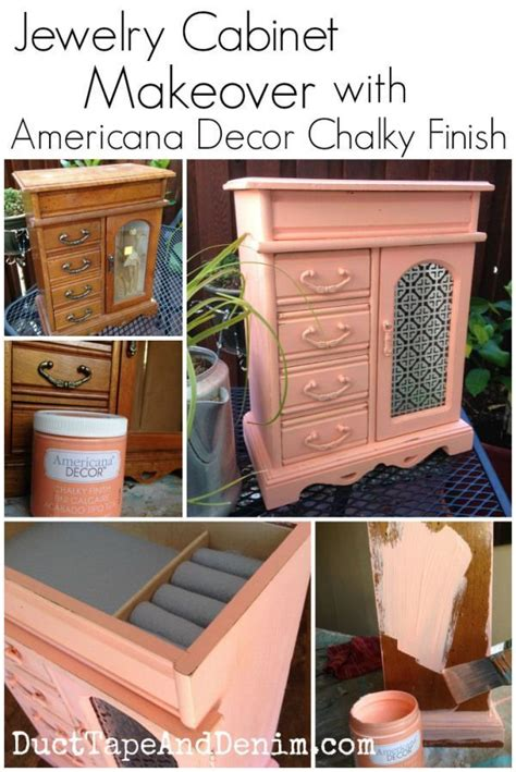 americana decor chalky finish paint on jewelry cabinet