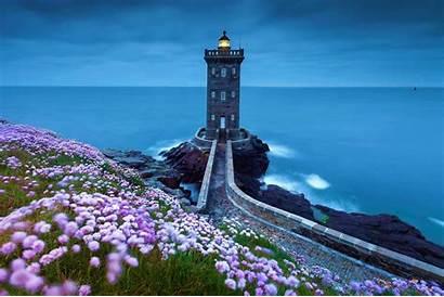 Lighthouse Spring Wallpapers Sunset 4k Landscape Desktop