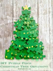 Puzzle Piece Ornament Christmas Tree Craft