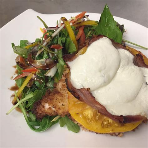 I made this recipe with panko italian bread crumbs, italian seasoning and with provolone cheese. Panko crusted chicken cutlet with heirloom tomato, prosciutto, fresh mozzarella over baby ...