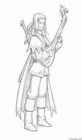 Elf Lute Bard Elves Fran Sparad Playing sketch template