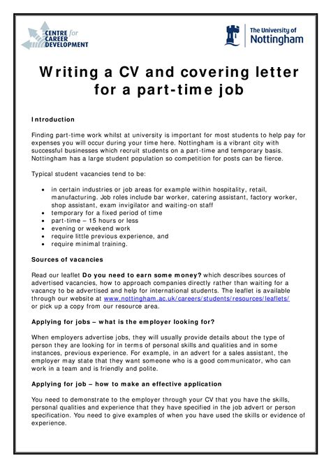 Cover Letter For Part Time by Engineering Student Part Time Cover Letter Templates