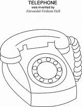 Coloring Telephone Phone Fashioned Drawing Easter Printable Template Invention Clipart Drawings Graham Alexander Bell Outline Preschool June Inventions Visit Sketch sketch template