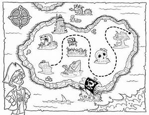 Lets hunt the treasure map coloring page for kids ...