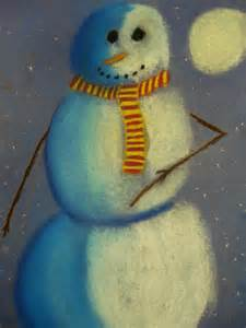 Art Lesson Snowmen at Night