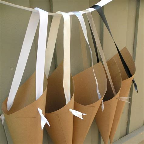 simple kraft paper wedding cones  custom ribbon