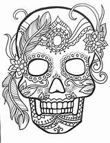 Skull Coloring Sugar Adults Pages Adult Dead Printable Halloween Colouring Sheets Mandala Sold Etsy Therapy sketch template