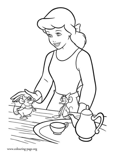 cinderella cinderella gus  jaq coloring page