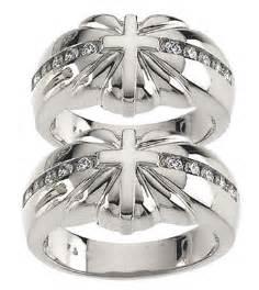 sterling silver cross sunburst wedding ring two ring 1577set
