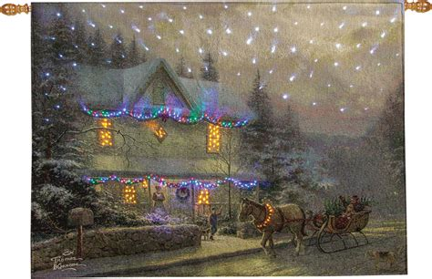 victorian christmas iv fiber optic tapestry wall hanging