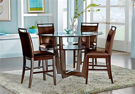 ciara espresso dark brown  pc counter height dining set glass top contemporary