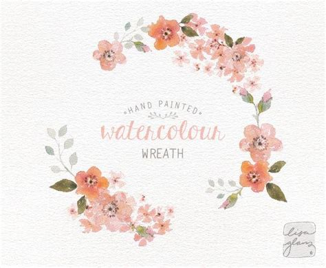 watercolor wreath painted floral wreath clipart