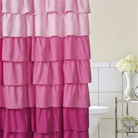 Pink And Purple Ruffle Curtains by Whimsy Pretty Things Ruffle Shower Curtains