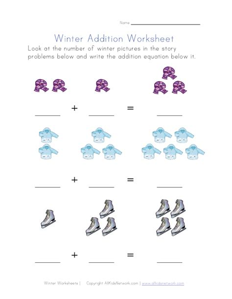 winter themed math worksheet addition equations