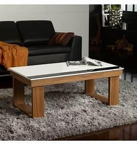 Table Bois Pied Blanc : table basse relevable plateau blanc et pied bois table basse pinterest table basse ~ Teatrodelosmanantiales.com Idées de Décoration