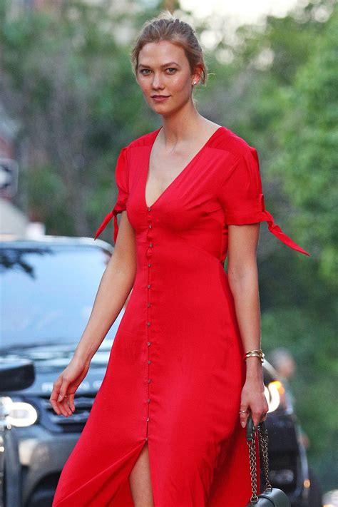 Karlie Kloss Bright Red Button Dress New York