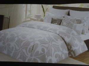 Tahari Bedding Collection by Tahari Gray White Modern Scroll 6 Pc Comforter Set