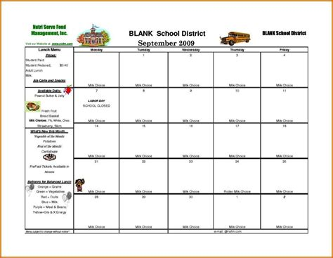 school lunch calendar template sampletemplatess