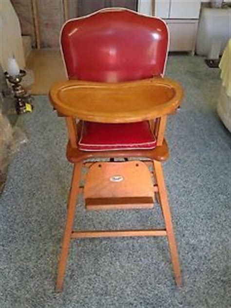Antique Solid Wood Baby High Chair Roller Rolling Play