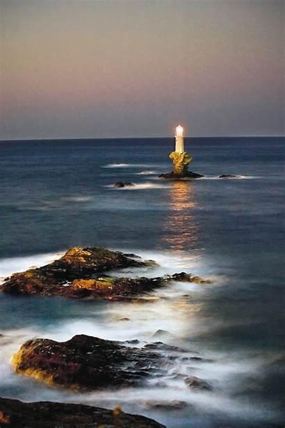 Lighthouse Pharo Tourlitis Andros Ot Greece Island