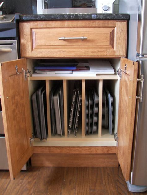 storage baking pan kitchen cutting boards houzz cabinet sheet cookie cabinets sheets tray organization vertical trays organize pans storing shelf