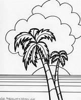 Sunset Coloring Island Ocean Beach Watercolor Printable Sheets sketch template