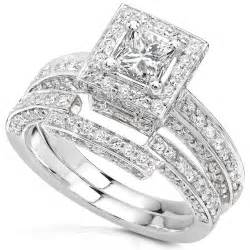 discount wedding ring sets 1 cheap 1 1 4ctw princess wedding rings set in 14kt white gold for sale promotion