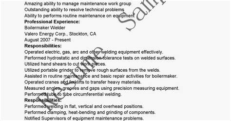 Boilermaker Resume Objective Exles by Resume Sles Boilermaker Welder Resume Sle