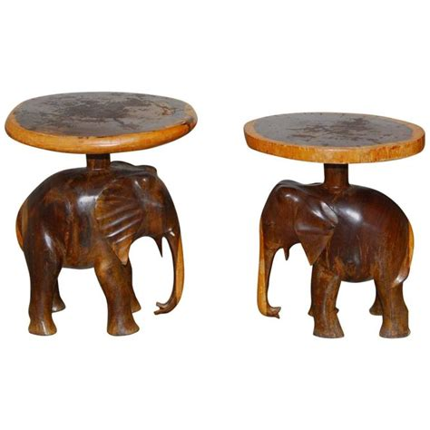 elephant tables for sale pair of carved elephant drink tables or stools for sale at