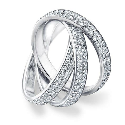 diamond rolling eternity band wedding ring white gold 3 carat pave ebay